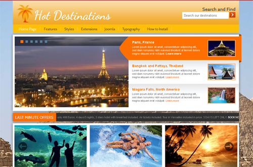 HOT Destinations - шаблоны joomla туризм