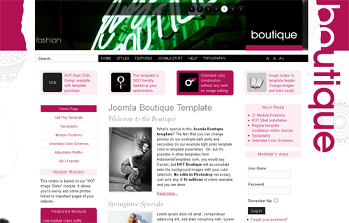 HOT Boutique - шаблоны joomla портал