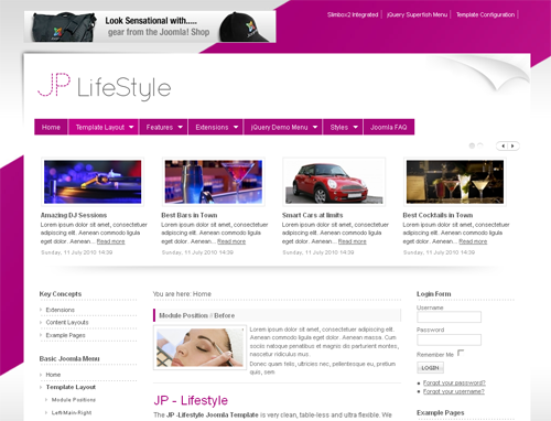 JoomlaPlates Lifestyle for J1.5 & J2.5