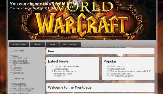 FJ World of Warcraft - шаблон joomla wow